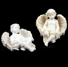 NEW 2 RESIN WHITE ANGEL CHERUB SLEEPING IN WINGS WALL MOUNTS ORNAMENTS CHE01
