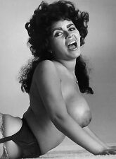 60s Brunette Nude posing on floor colossal DDDs  8 x 10 Photograph