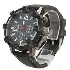 V6 Men Sport Large Round Dial Quartz Black Rubber Strap Wrist Watch