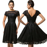 Black Lace&Satin Short Bridesmaid Ball Cocktail Evening Prom Party Dresses 8-14+