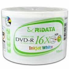 50 16X Ridata White Inkjet HUB Printable DVD-R Disc Free Expedited Shipping!