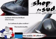 STICKERS CARBONE 5D ADHÉSIF AUTOCOLLANT PLAQUE 152 X 30 CM RENAULT CITROEN FORD