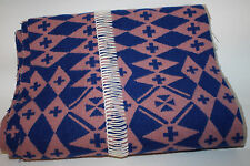 "PENDLETON Navy Blue Pink Nude Peach Wool Fabric Remnant 106""x11"" Indian Blanket"