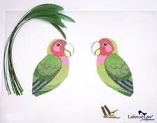 SP.ORDER ~ Labors of Love  LOVE BIRD & Feathers HP Needlepoint Canvas ~ 2 sided