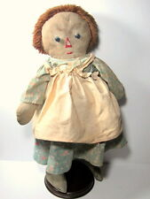 "c.1940s RAGGEDY ANN DOLL 20"" Original Outfit YARN WIG long nose"