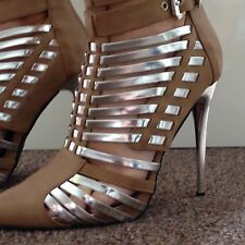 Women's Size 2 Beige And Silver High Heel Shoe/ Boot