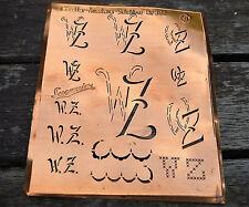 """Monogramm """" WZ """" Wäschemonogramm Wäscheschablone Wäschezeichen 11/13 cm KUPFER"""