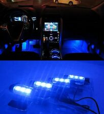 4PCS AUTO DECORATIVE ACCESSORIES Vehicle Car LED Blue Lights Atmosphere Lamp