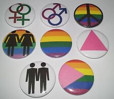 8 Pride button Badges Gay Interest Pink Triangle Rainbow Flag Homosexual