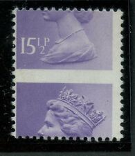 GB QE2 MACHIN ERROR 15 1/2p MAJOR MISPERFORATION