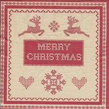 2 Serviettes en papier - Cerf Decor Noël Point de Croix - Paper Napkins Deer