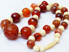 CHINESE VINTAGE CARVED CARNELIAN AGATE BEADS NECKLACE, 96g