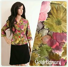 Vintage 50's Laeta Ramage Painted Daisy Floral Cotton Jacket Cardi Top 10 38