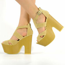WOMENS LADIES MIDI DEMI WEDGE CHUNKY HIGH HEEL ANKLE STRAP PARTY SHOES SIZE 3-8