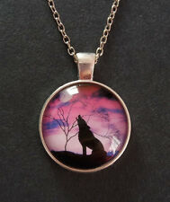 Silver Tone Howling Wolf Werewolf Glass Dome Necklace Pendant with Gift Bag