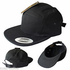 NEW *BLACK* 5 PANEL CAP PLAIN STRAPBACK BASEBALL SNAPBACK FITTED FLAT PEAK HAT