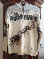 M Ivory Sled Dog Scene 100% Lambs Wool Ralph Lauren Hoodie Pullover Sweater