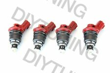Set of 4 Red Side Feed Injectors 850CC Fits NISSAN SR20DET 200SX 180SX 240SX