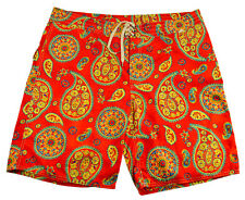 Polo RALPH LAUREN 40 Red Paisley Swim Trunks Surf Board Shorts Bright Colorful
