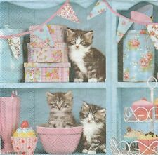 2 Serviettes en papier chats dans la cuisine - Paper Napkins Cats in the Kitchen