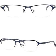 Herren Damen Brille Brillengestellen Titan Metall Halbrand Brillenfassungen Blau