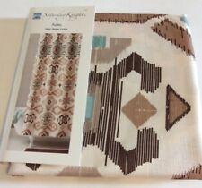 Saturday Knight Southwestern Aztec Turquoise Tan Brown FABRIC SHOWER CURTAIN NEW