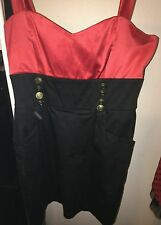 Valley Girl - Red w/Gold Buttons & Black Skirt Dress - Size 14