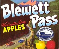 OLD CASHMERE APPLE LABEL: CARS TRAVEL ON MOUNTAIN ROAD - BLEWETT PASS