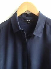 UNIQLO 100% SILK L/SLEEVE COLLARED BLOUSE MIDNIGHT BLUE UK12/14 BNWOT RRP £24.90