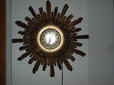 Vintage Sunburst Clock Mid Century Modern Gold Syroco Hollywood Regency VG