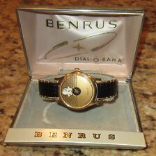 Benrus Dial-O-Rama Jump Hour 1950s Vintage Gold Watch - Clean