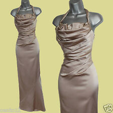 Karen Millen Nude Satin Cross Over Open Back Cocktail Long Gown Maxi Dress sz-12