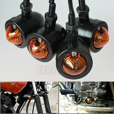 4x Black Motorcycle Turn Signals Mini Bullet Blinker Amber Indicator Light +Gift