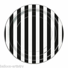 "8 BLACK White Stripes Style Party Small 7"" Disposable Paper Plates"