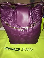 BNWT Versace Jeans Purple Embroidered Handbag. Gift Idea!