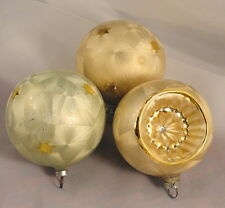 3 West Germany Vintage Pastel W Gold Stars Glass Ball Indent Christmas Ornaments