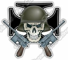 Iron Cross German Soldier Skull Army Pistol Car Bumper Vinyl Sticker Decal 4.6""