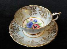 Vintage PARAGON England BONE CHINA Wide TEA CUP & SAUCER A2136 Blue Floral GOLD