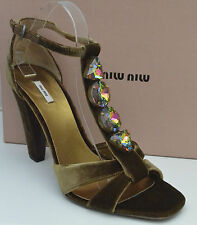 Miu Miu Women Jewel Stones Runway Peep Toe Heels Size (UK8, EU 41, US 11