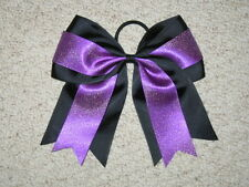 "NEW ""BLACK & PURPLE GLITTER"" Cheer Bow Pony Tail 3 Inch Ribbon Girl Cheerleading"