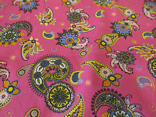 "Pink ""Summer Carnival""  Paisley Printed 100% Cotton Poplin Fabric"