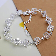 -UK- 925 Sterling Silver Cube Bracelet Chain Link Sparkly Crystal (126)