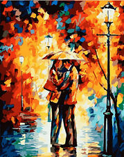 "DIY Paint By Number 16""*20"" Kit Love In The Rain On Canvas With Nice Box"