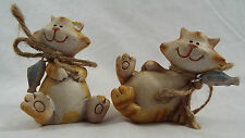 "Set of 2 Resin Orange Tabby Cat Figures with Fish 3"" x 3"" Each"