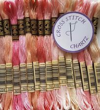 15 DMC THREADS MIX of PINK SHADES Cross Stitch Skeins Floss Popular DMC colours