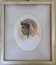 FRAMED WATERCOLOUR PAINTING double sided A PORTRAIT STUDY OF AN ARAB MAN /LADY