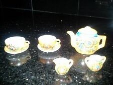 1960s Vintage Luster Ware Child's Toy Tea Set Doll Dishes Gold Flowers Japan
