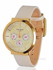 BRAND NEW KATE SPADE (1YRU0512) WHITE LEATHER GOLD CHRONOGRAPH WATCH
