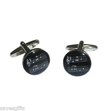 High Quality Round Black Music Sheet Design Cufflinks