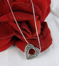 """Sterling Silver Marcasite Heart Necklace 18""""  FERAL CAT RESCUE"""
